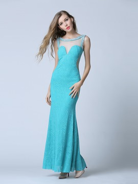 Ericdress Scoop Column Beading Lace Crystal Evening Dress