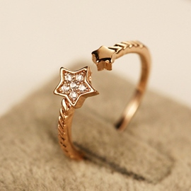 Ericdress Celebrity Diamante Star Open Ring