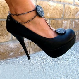 Ericdress Sexy Black Anklet Embellished Platform Pumps