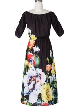 Ericdress Beach Print Slash Neck Maxi Dress