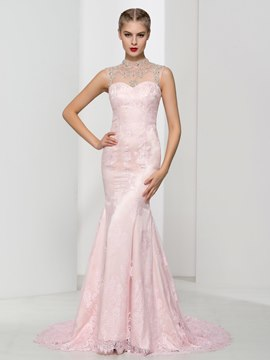 Ericdress High Neck Beading Button Mermaid Lace Evening Dress