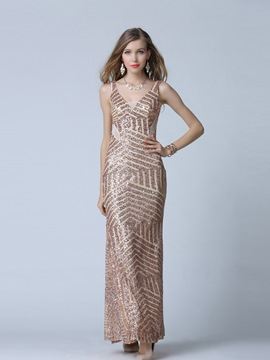 Ericdress Straps Sequins A-Line Evening Dress
