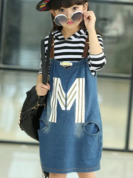 Ericdress Denim Suspenders Dress Girls Outfit