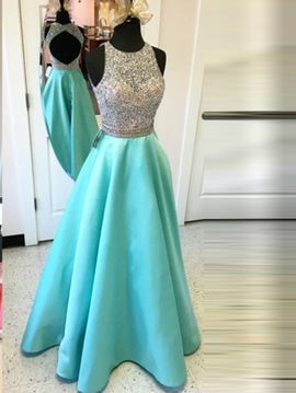 Ericdress A-Line Jewel Neck Long Prom Dress With Beaded Crystal
