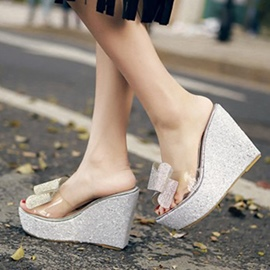 Ericdress Bowtie Wedge Slippers