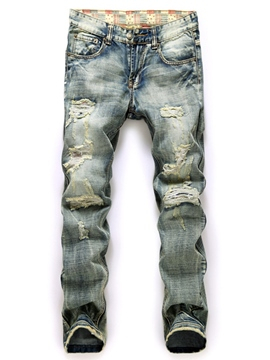Ericdress Worn Holes Denim Casual Men's Jeans