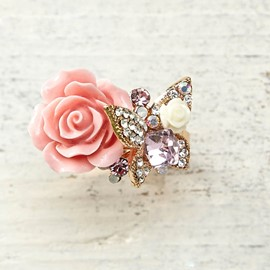 Butterfly Flower Design Retro Ring