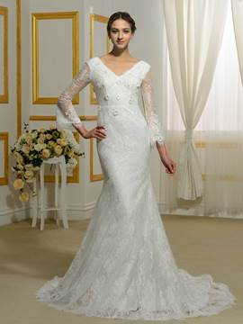 Ericdress Amazing V Neck Backless Lace Mermaid Wedding Dress