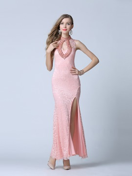 Ericdress High Neck Column Beading Split-Front Evening Dress