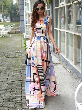 Ericdress Plaid Floral Druck Ärmelloser Expansion Maxi Kleid