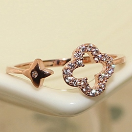 Ericdress Hollow Lucky Leaf Zircon Ring