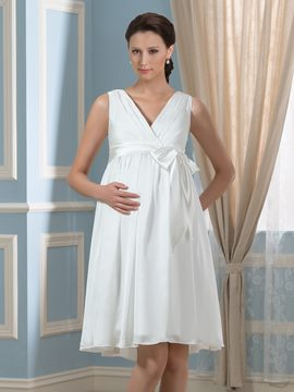 Ericdress Casual V Neck A Line Maternity Wedding Dress