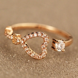 Ericdress Diamante Heart Shape Open Ring