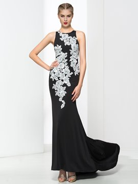 Ericdress Scoop Neck Appliques Mermaid Evening Dress