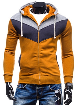 Ericdress Color Block Zip Slim Casual Men's Hoodie