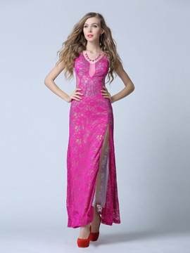 Ericdress Sheath V-Neck Beading Lace Floor-Length Evening Dress
