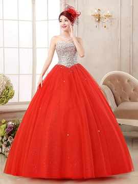 Ericdress Sweetheart Ball Gown Ceystal Sequins parole longueur robe de Quinceanera