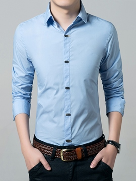 Ericdress Plain Single-Breasted Slim Men's Shirt