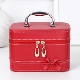 Ericdress Korean Bowknot Decorated PU Cosmetic Bag