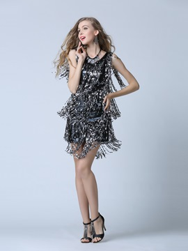 Ericdress Modern V-Neck Column Sequins Cocktail Dress
