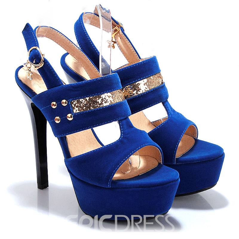 Ericdress Sequins Open Toe Platform Stiletto Sandals