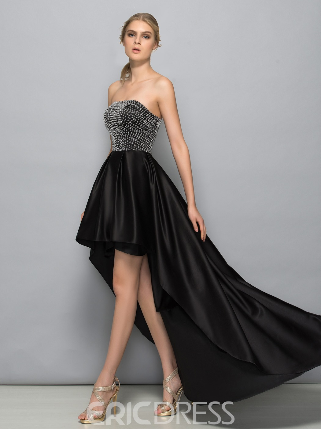 Ericdress Straps Beading Asymmetry Evening Dress