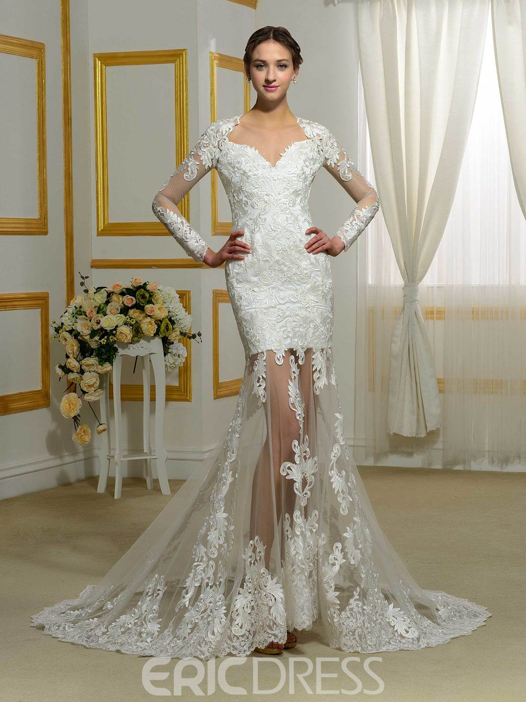 Ericdress Charming Long Sleeves Mermaid Backless Wedding Dress
