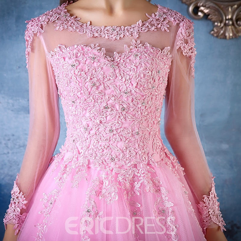 Ericdress Long Sleeves Ball Quinceanera Dress With Appliques And Beading