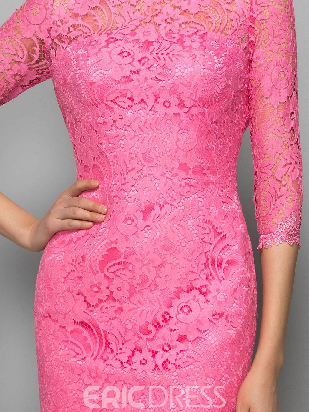 Ericdress Half Sleeves Sheath Backless Lace Cocktail Dress