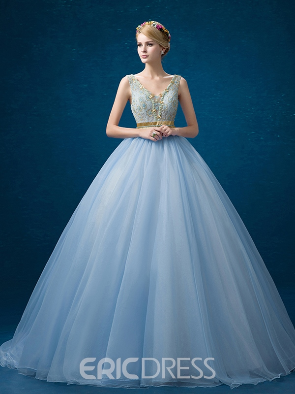 Ericdress V-Neck Ball Gown Beading Lace Floor-Length Quinceanera Dress