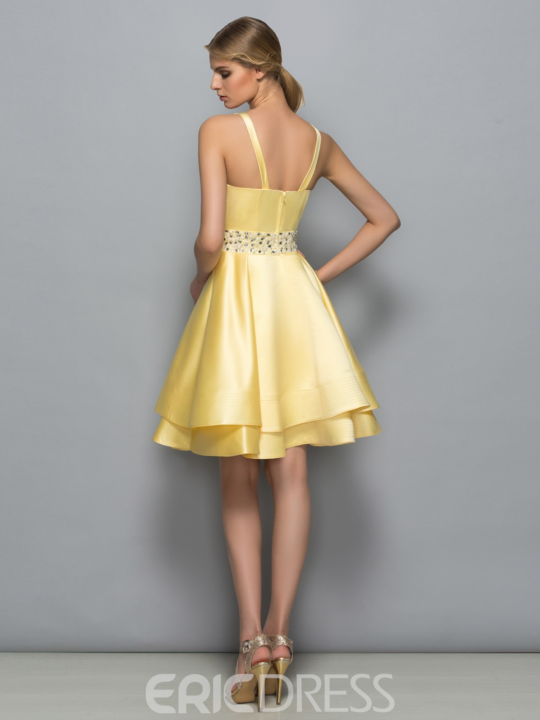 Ericdress Scoop Neck Beading Tiered Short Cocktail Dress