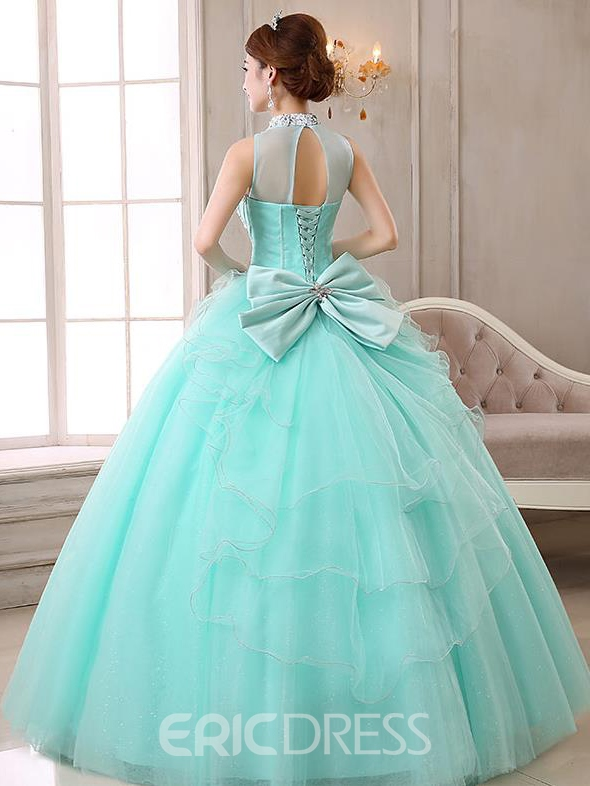 Ericdress High Neck Ball Gown Beading Bow Crystal Quinceanera Dress
