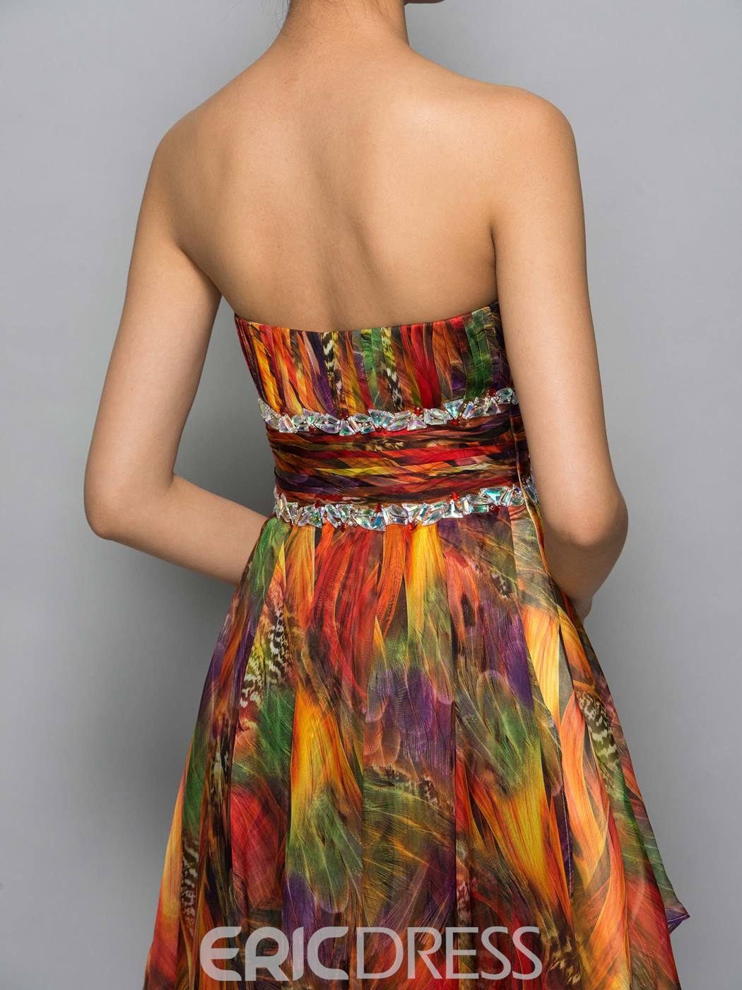 Ericdress Strapless Beading Pleates High Low Print Cocktail Dress