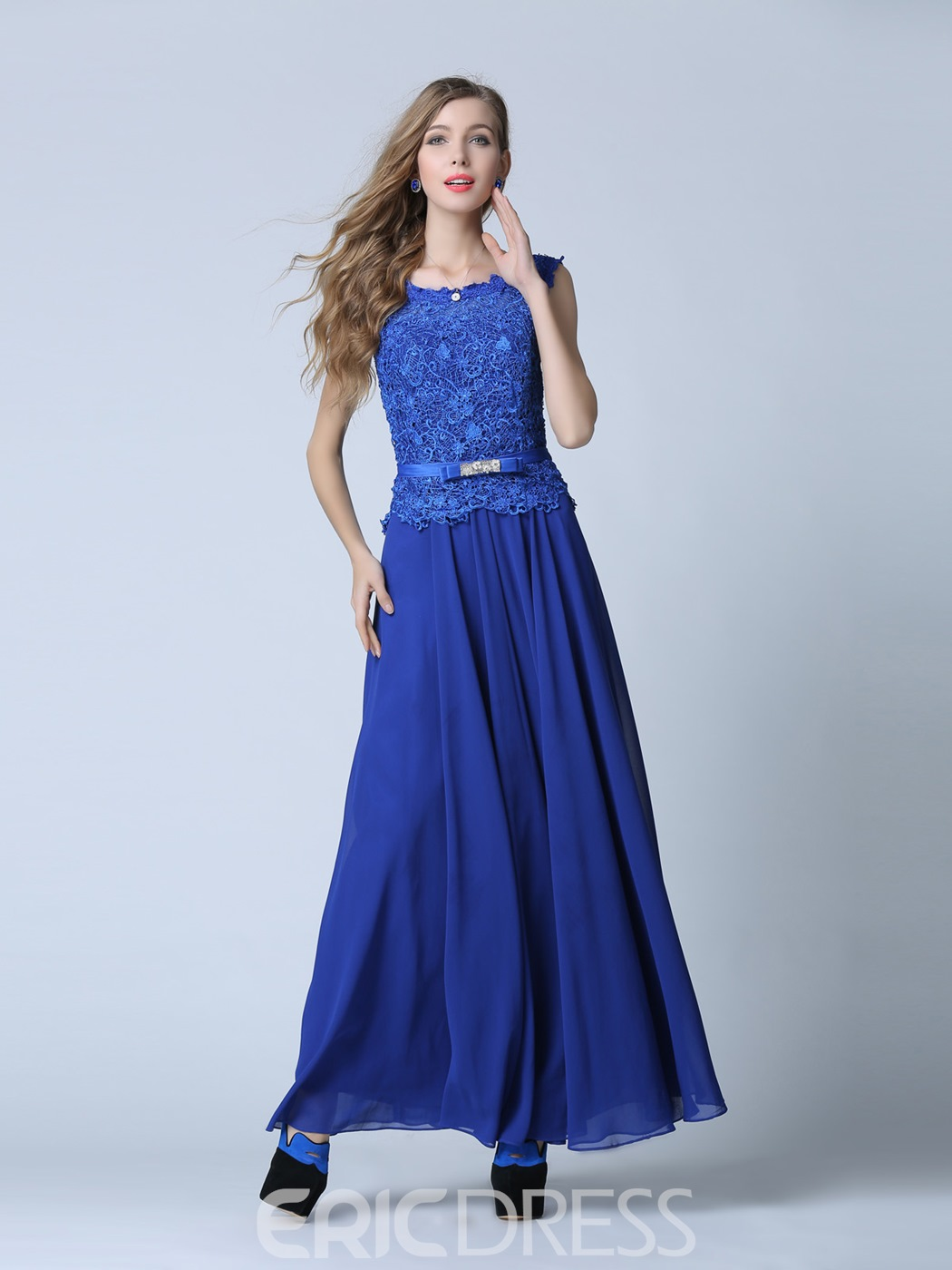 Ericdress A-Line Scoop Lace Sashes Floor-Length Evening Dress