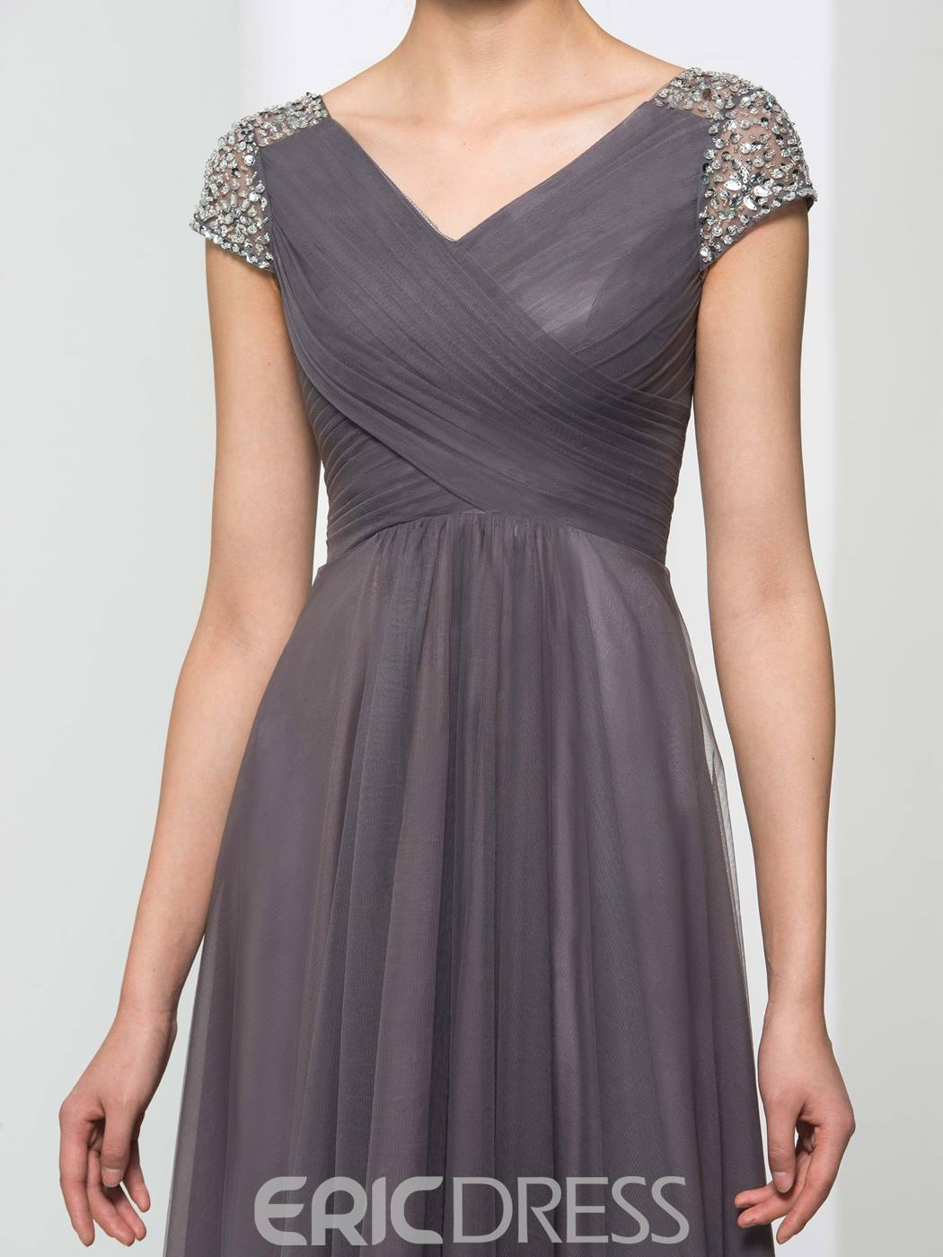 Ericdress V-Neck Short Sleeves Sequins High Low Evening Dress