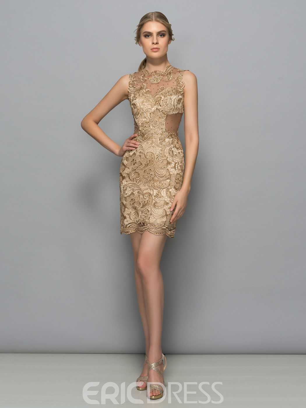Ericdress Sheath Jewel Neck Lace Sleeveless Knee-Length Cocktail Dress