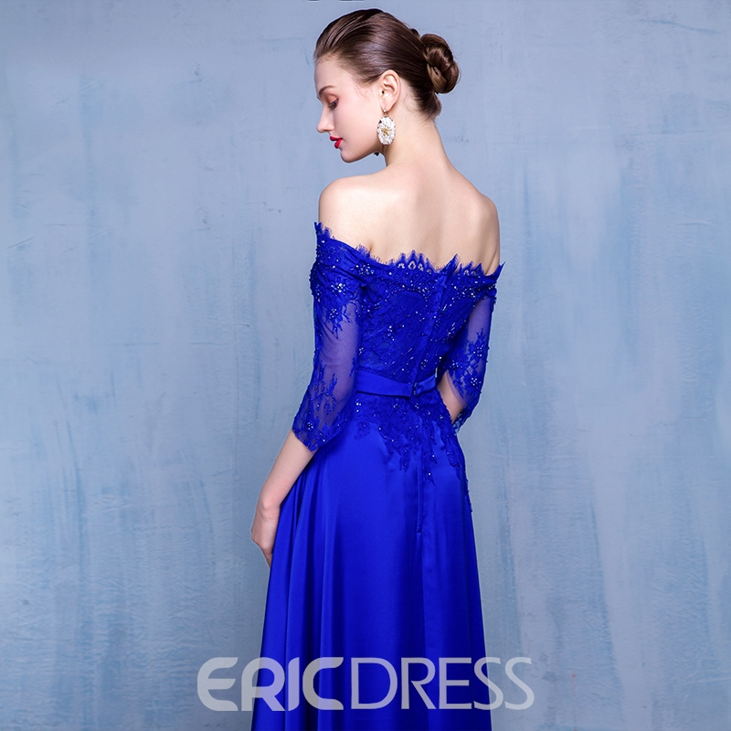 Ericdress Off-the-Shoulder A-Line Beading Lace Evening Dress