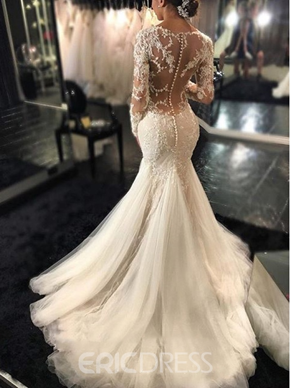 Ericdress Charming Appliques Backless Mermaid Wedding Dress