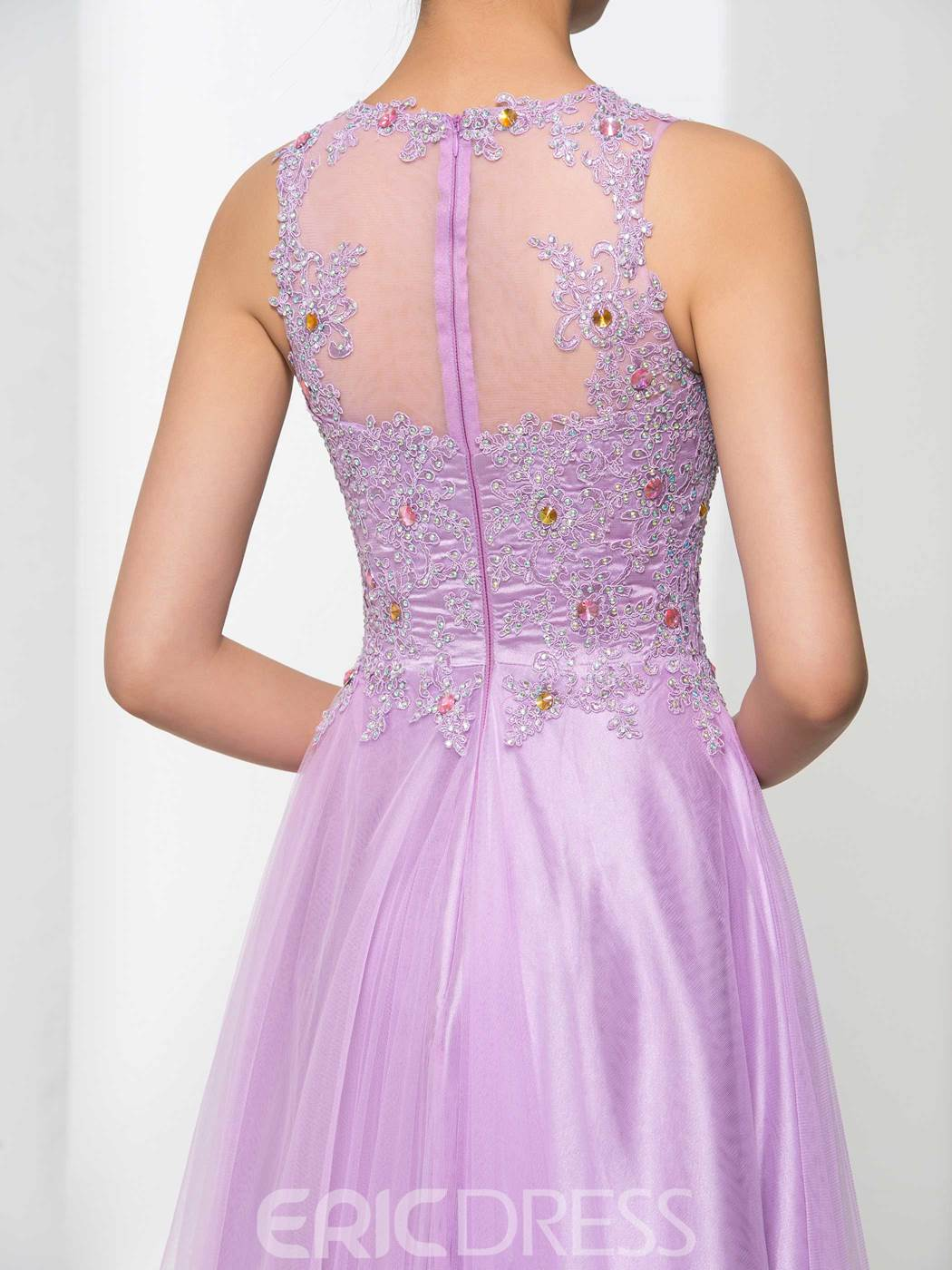 Ericdress Scoop Neck Appliques Beading Long Prom Dress