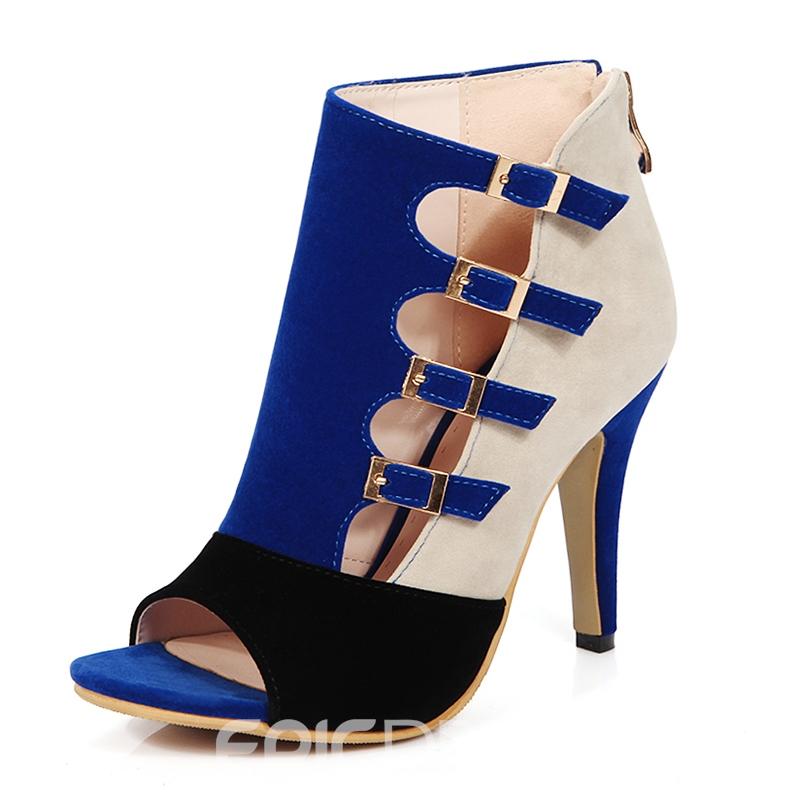 Ericdress Patchwork Peep Toe Buckles Stiletto Sandals