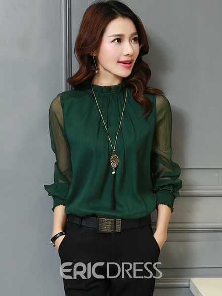 Ericdress Loose Solid Color Mesh Patchwork Shirt