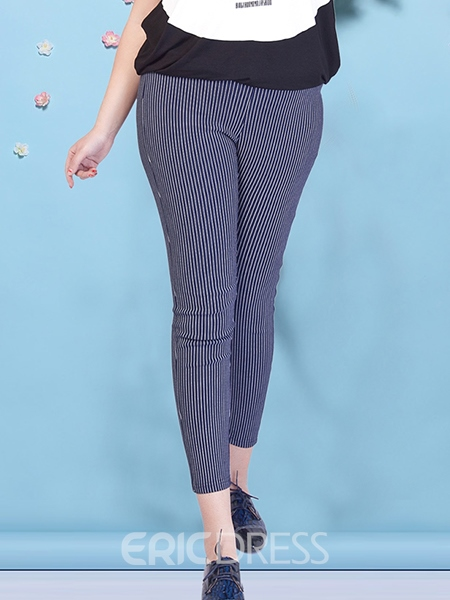 Ericdress Plus Size Patchwork Stripe High Waist Leggings
