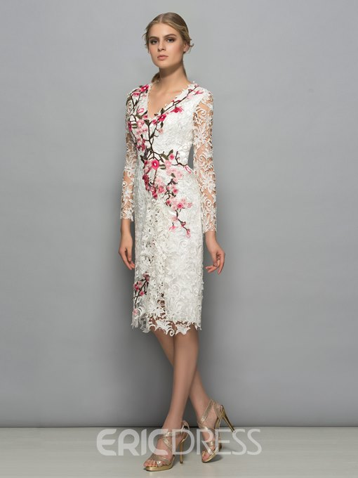 Ericdress V-Neck Appliques Long Sleeves Column Cocktail Dress