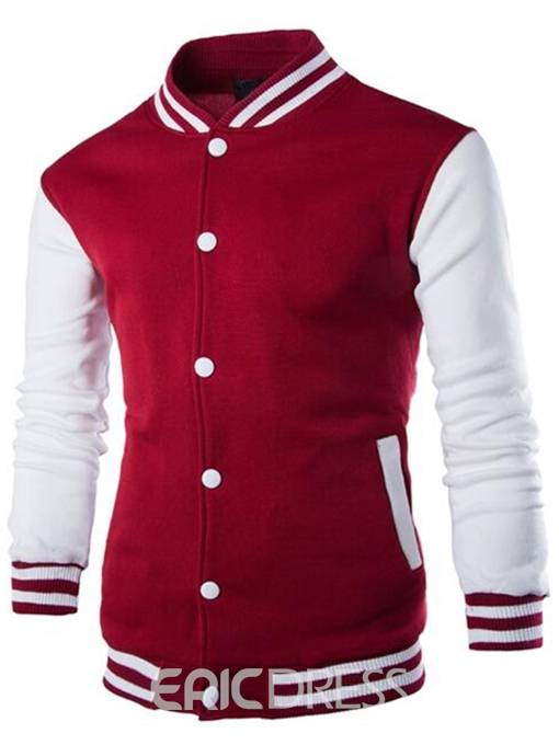Ericdress Single-Breasted Stand Collar Casual Men's Hoodie