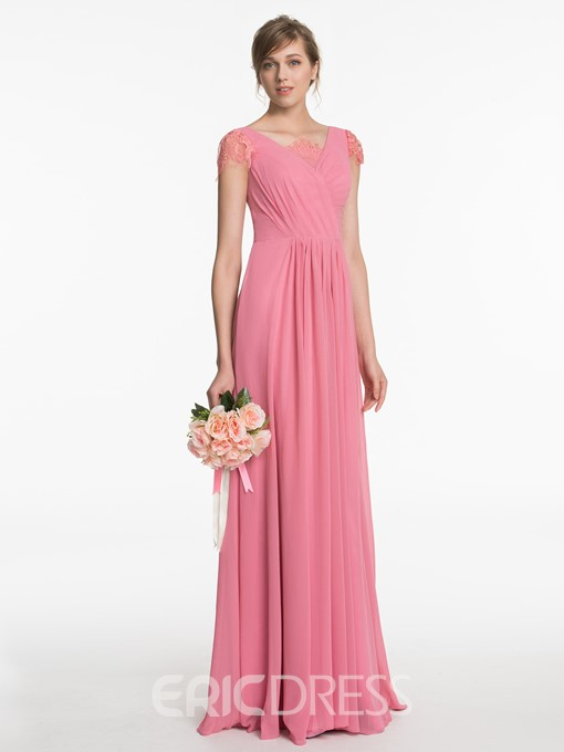 Ericdress Beautiful Cap Sleeves A Line Long Bridesmaid Dress