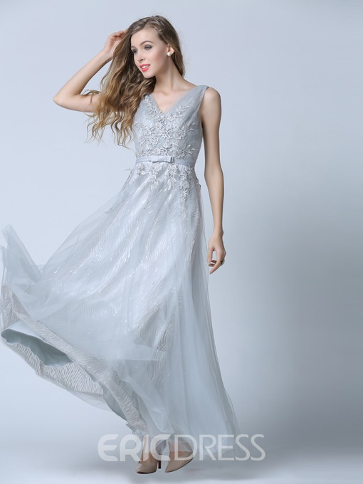 Ericdress V-Neck A-Line Appliques Sashes Sweep Train Evening Dress