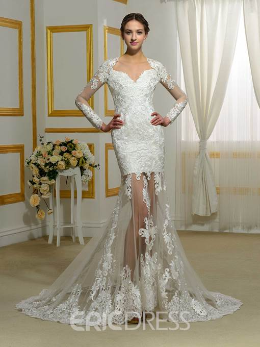Ericdress Long Sleeves Mermaid Backless Wedding Dress