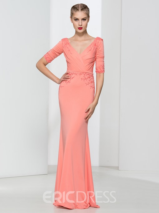 Ericdress V-Neck Beading Draped Sheath Evening Dress