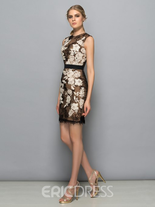 Ericdress Sheath Jewel Neck Appliques Lace Cocktail Dress