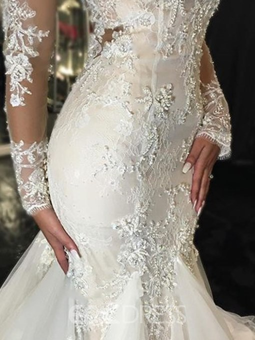 Ericdress Appliques Mermaid Wedding Dress with Long Sleeves